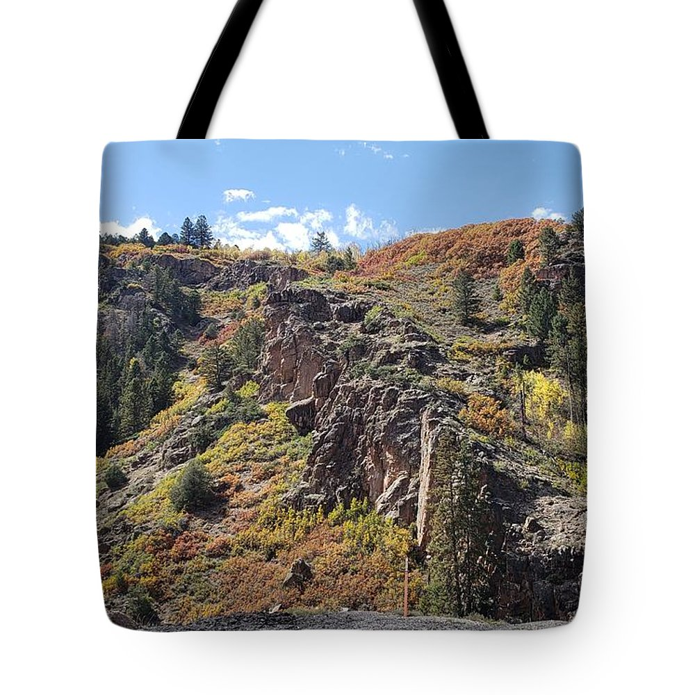 Mountainside; Mountains; Landscape; Mountain Landscape; Autumn Landscape; Nature Tote Bag featuring the photograph Autumnesium by Tonya Sisco