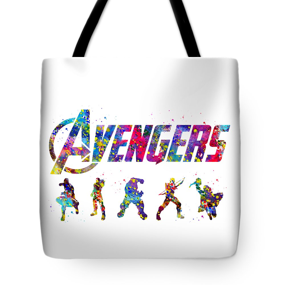 Avengers Team Tote Bag featuring the digital art Avengers Team by Erzebet S