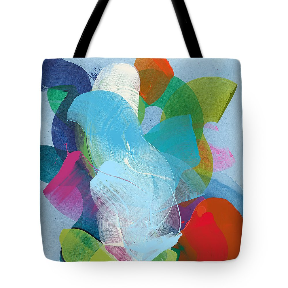 Abstract Tote Bag featuring the painting Away A While by Claire Desjardins