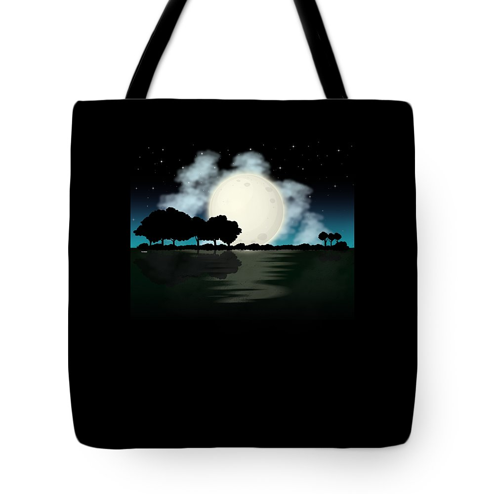 Lake Tote Bag featuring the digital art Awesome Guitar Guitarist Lake Fishing Boating by Tom Giant