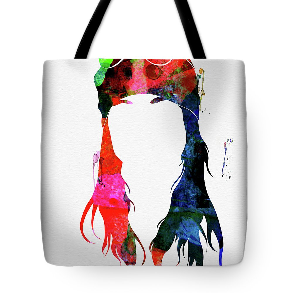 Axl Rose Tote Bag featuring the mixed media Axl Rose Watercolor by Naxart Studio