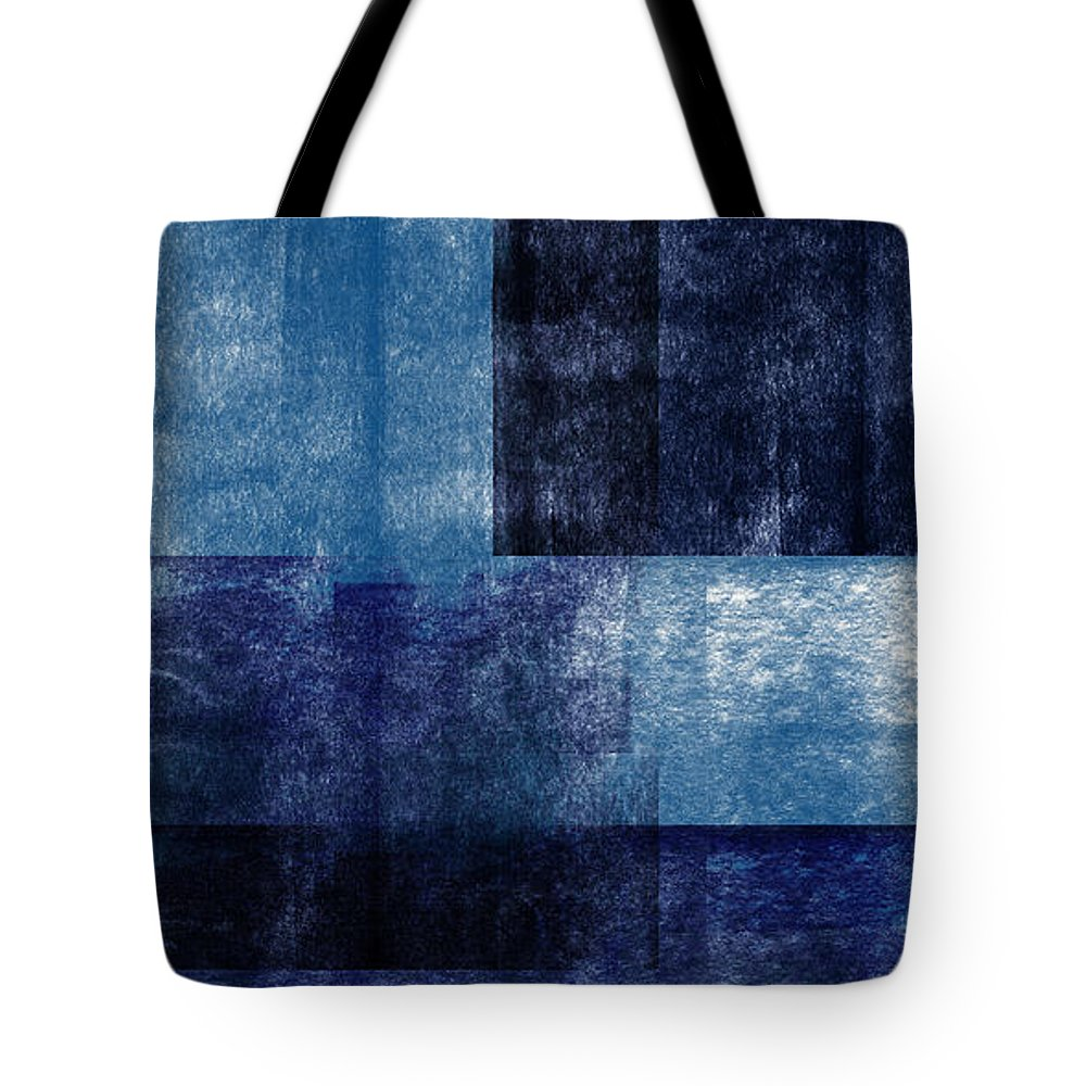 Abstract Tote Bag featuring the mixed media Azul Blocks 1- Art by Linda Woods by Linda Woods