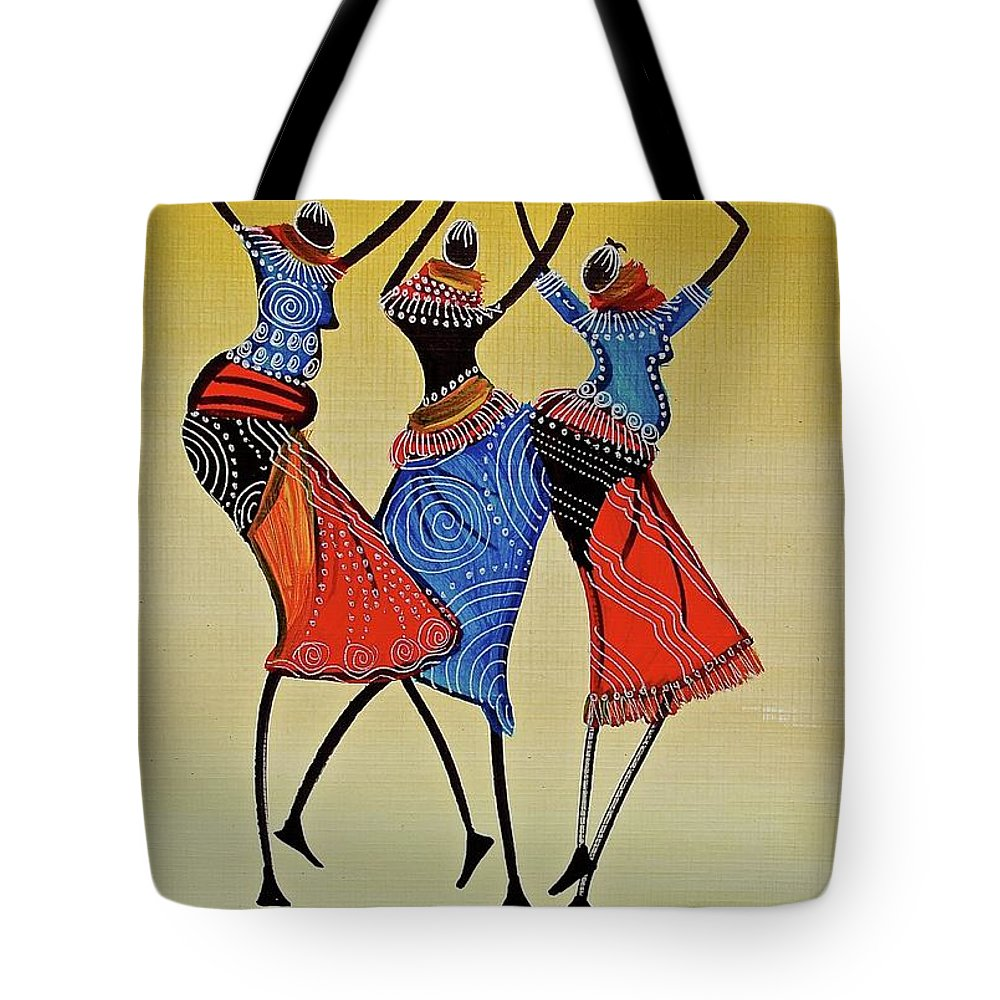 Africa Tote Bag featuring the painting B-261 by Martin Bulinya