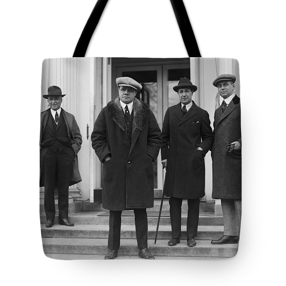 Babe Ruth Tote Bag featuring the photograph Babe Ruth At The Whitehouse by Jon Neidert