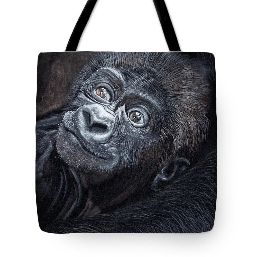 Baby Tote Bag featuring the pastel Baby Gorilla by Raymond Ore