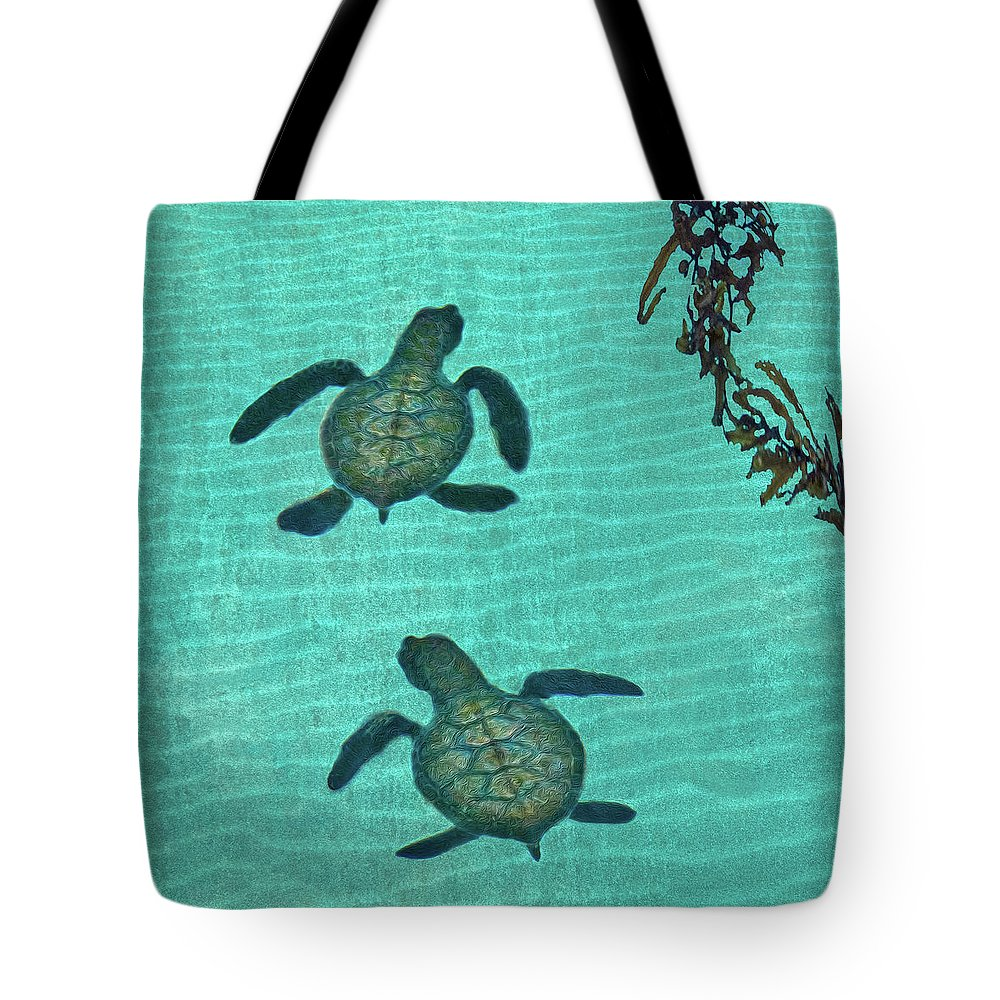 Seaweed Tote Bag featuring the photograph Baby Sea Turtles by Melinda Moore