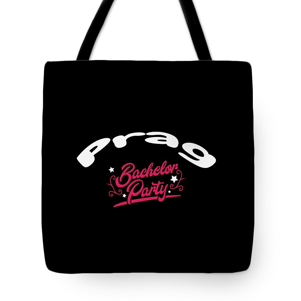 Bachelor-party Tote Bag featuring the digital art Bachelor Party Shirt Prag Pre Wedding Celebration Tee by Haselshirt