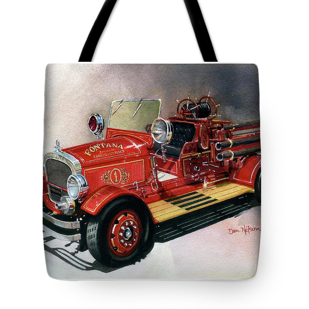 Fire Engine. Fire Truck. Dan Nelson. Fire Engine Watercolor. Fire Truck Watercolor. Dan Nelson Watercolor. Tote Bag featuring the painting Back When Firemen Wer Firemen by Dan Nelson