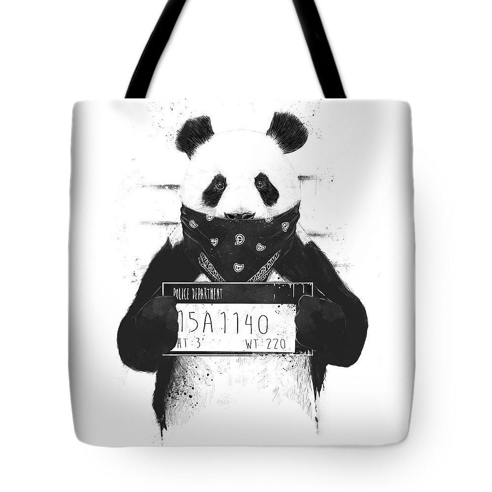 Panda Tote Bag featuring the drawing Bad panda by Balazs Solti