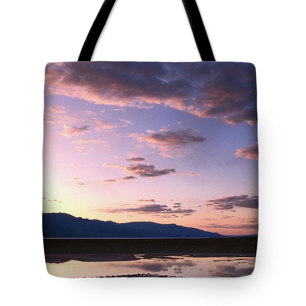 Dramatic Landscape Tote Bag featuring the photograph Badwater, 280 Ft Elevation, Sunset by John Elk Iii
