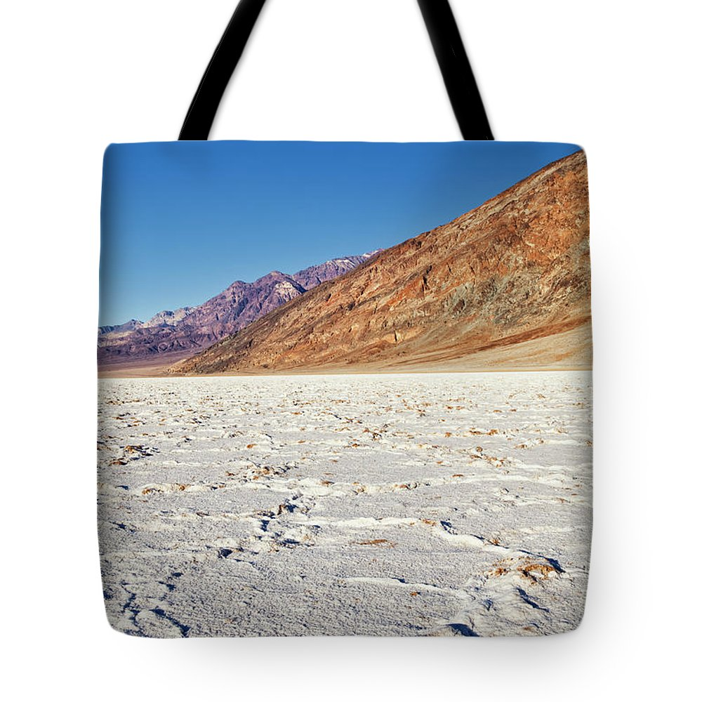 Clear Sky Tote Bag featuring the photograph Badwater Basin Salt Flats, Death Valley by Bryan Mullennix