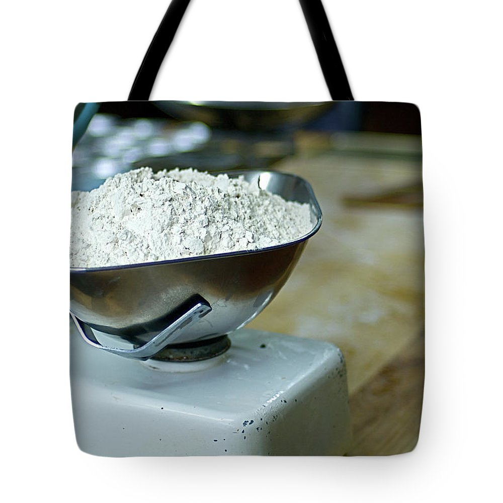 Bakery Tote Bag featuring the photograph Bakery Scales by Charlie Ingham