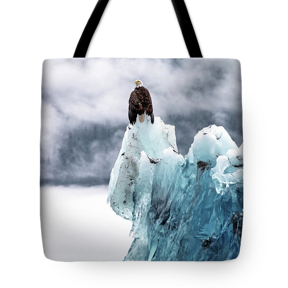Iceberg Tote Bag featuring the photograph Bald Eagle On The Glacier by Naphat Photography