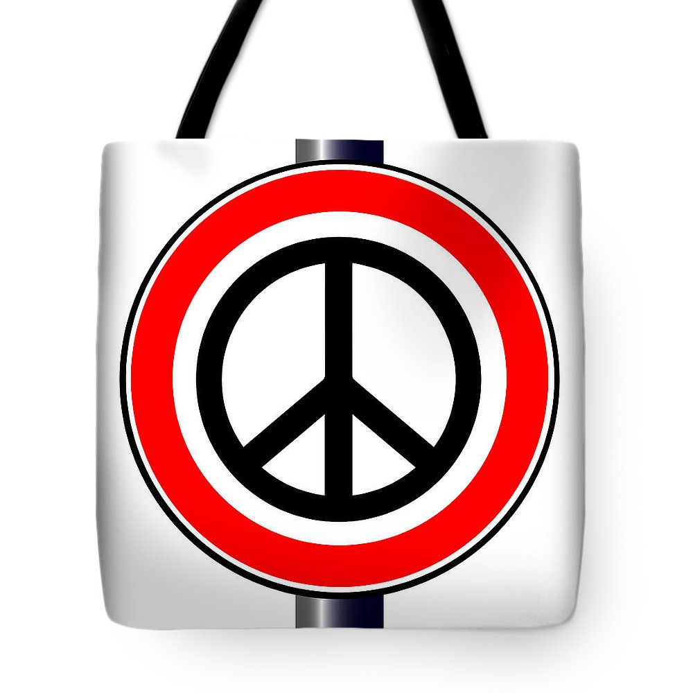 Ban Tote Bag featuring the digital art Ban The Bomb Road Sign by Bigalbaloo Stock