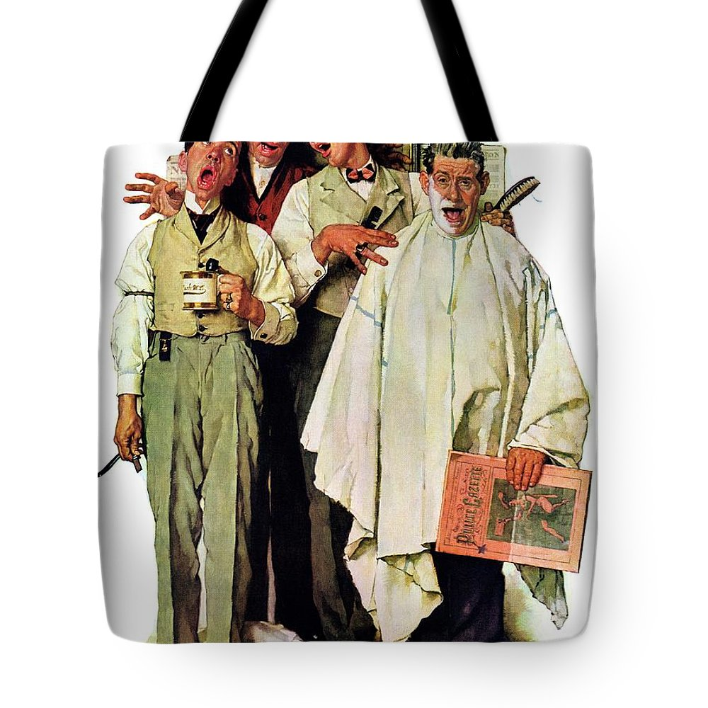 Barbers Tote Bag featuring the drawing Barbershop Quartet by Norman Rockwell