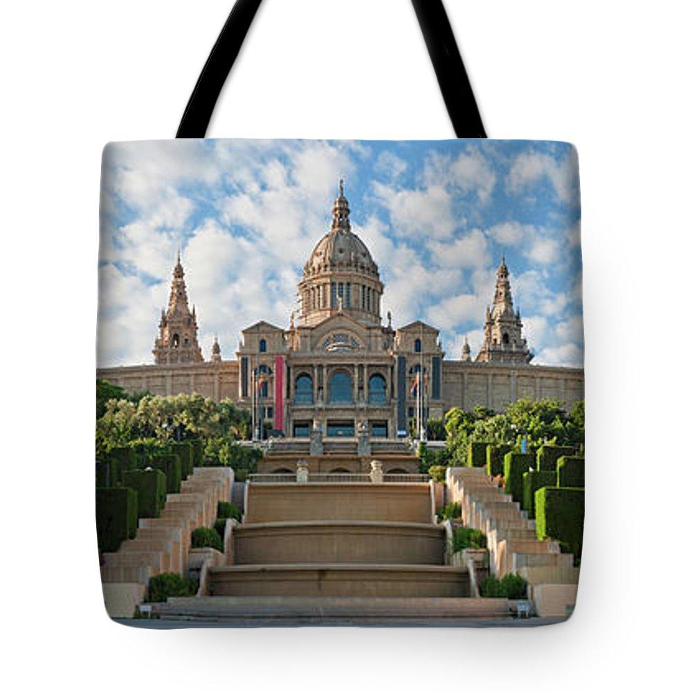 Catalonia Tote Bag featuring the photograph Barcelona Museu Nacional Dart De by Fotovoyager