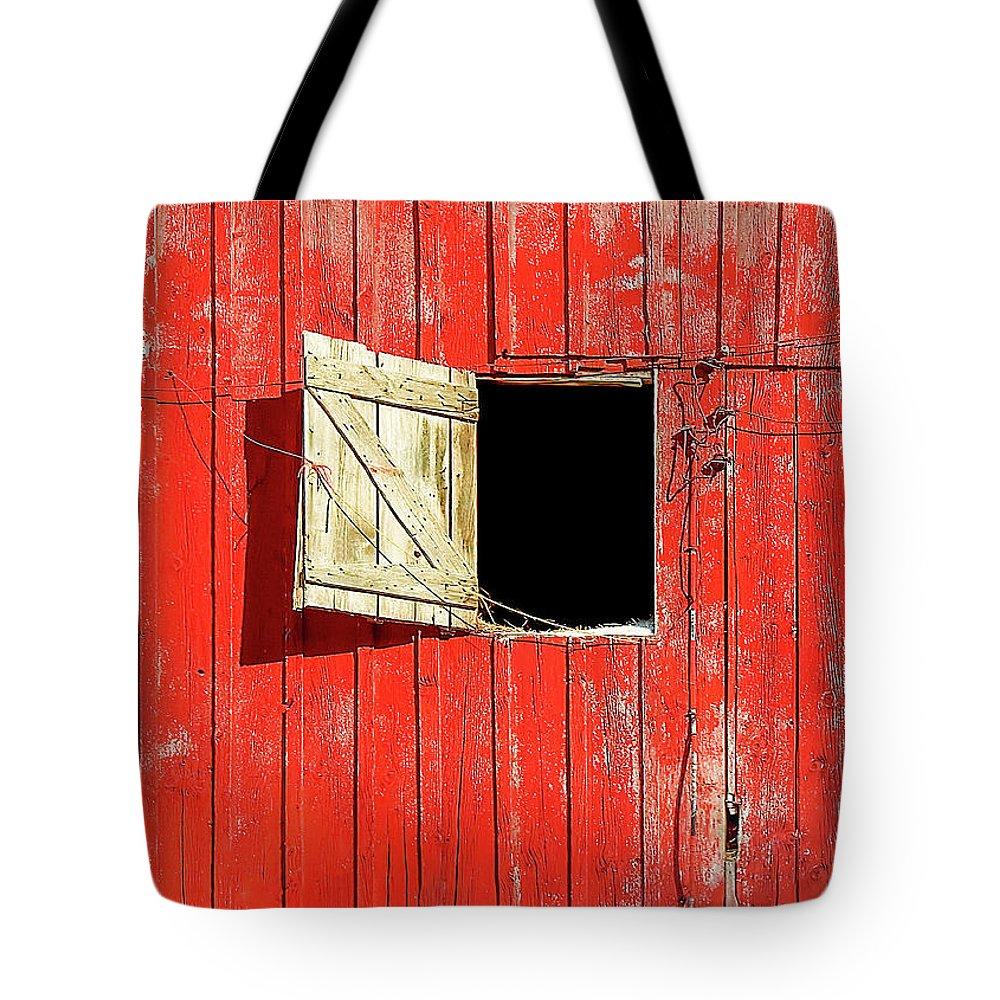 Barn Door Tote Bag featuring the photograph Barn Door Open by Todd Klassy