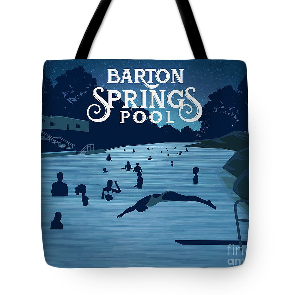 Barton Springs Pool Tote Bag featuring the digital art Barton Springs Pool by Austin Welcome Center