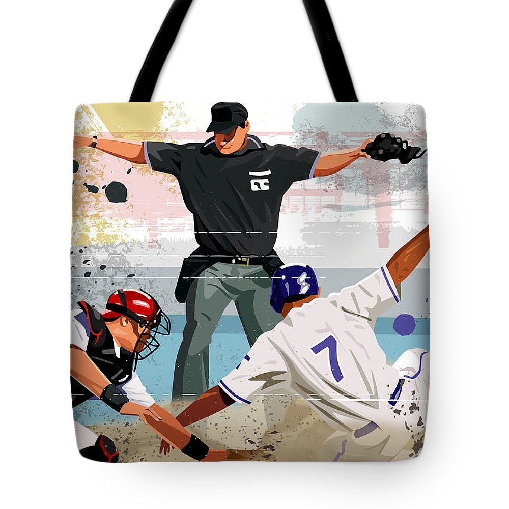 Helmet Tote Bag featuring the digital art Baseball Player Safe At Home Plate by Greg Paprocki