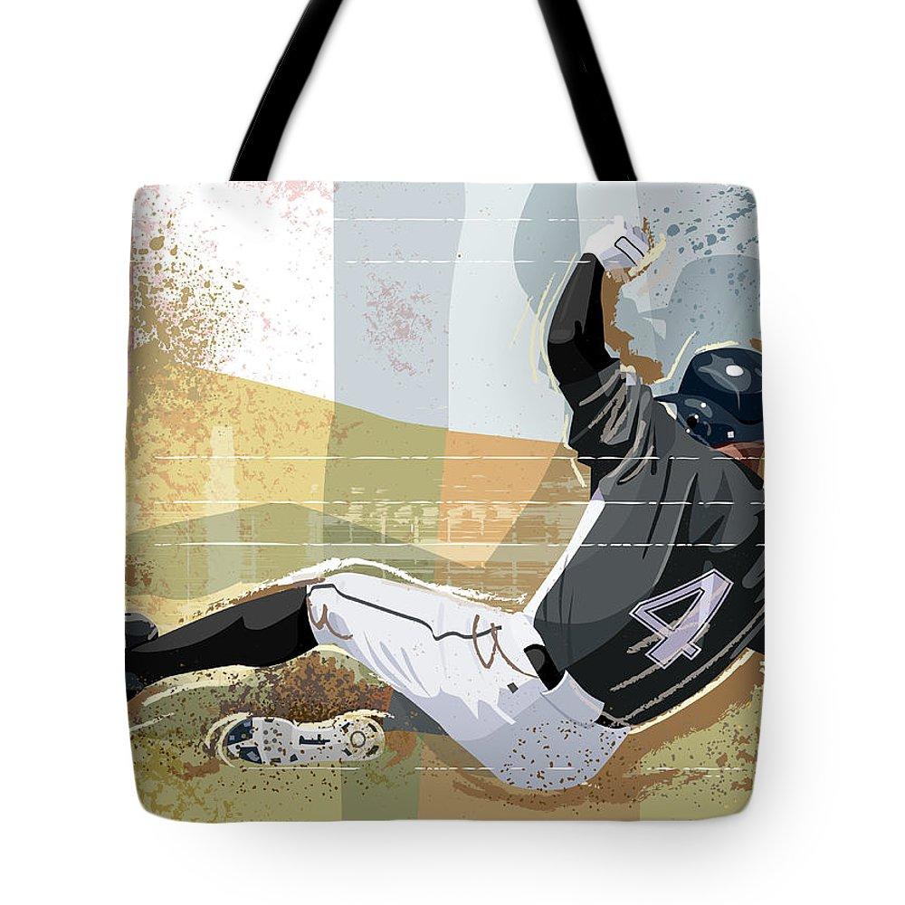 Sports Helmet Tote Bag featuring the digital art Baseball Player Sliding Into Base by Greg Paprocki