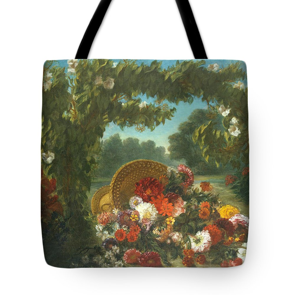 Eugène Delacroix Tote Bag featuring the painting Basket Of Flowers by Eug ne Delacroix