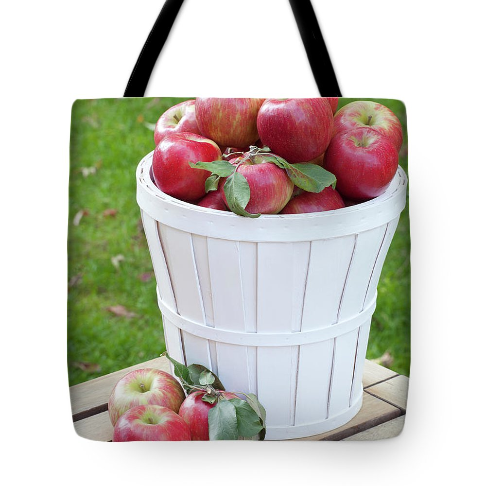 Outdoors Tote Bag featuring the photograph Basket Of Honey Crisp Apples by Wholden