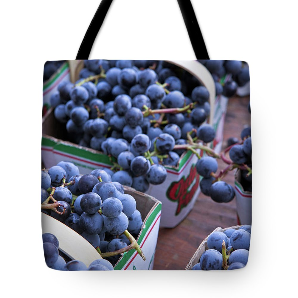 Toronto Tote Bag featuring the photograph Baskets Of Grapes by Mary Smyth