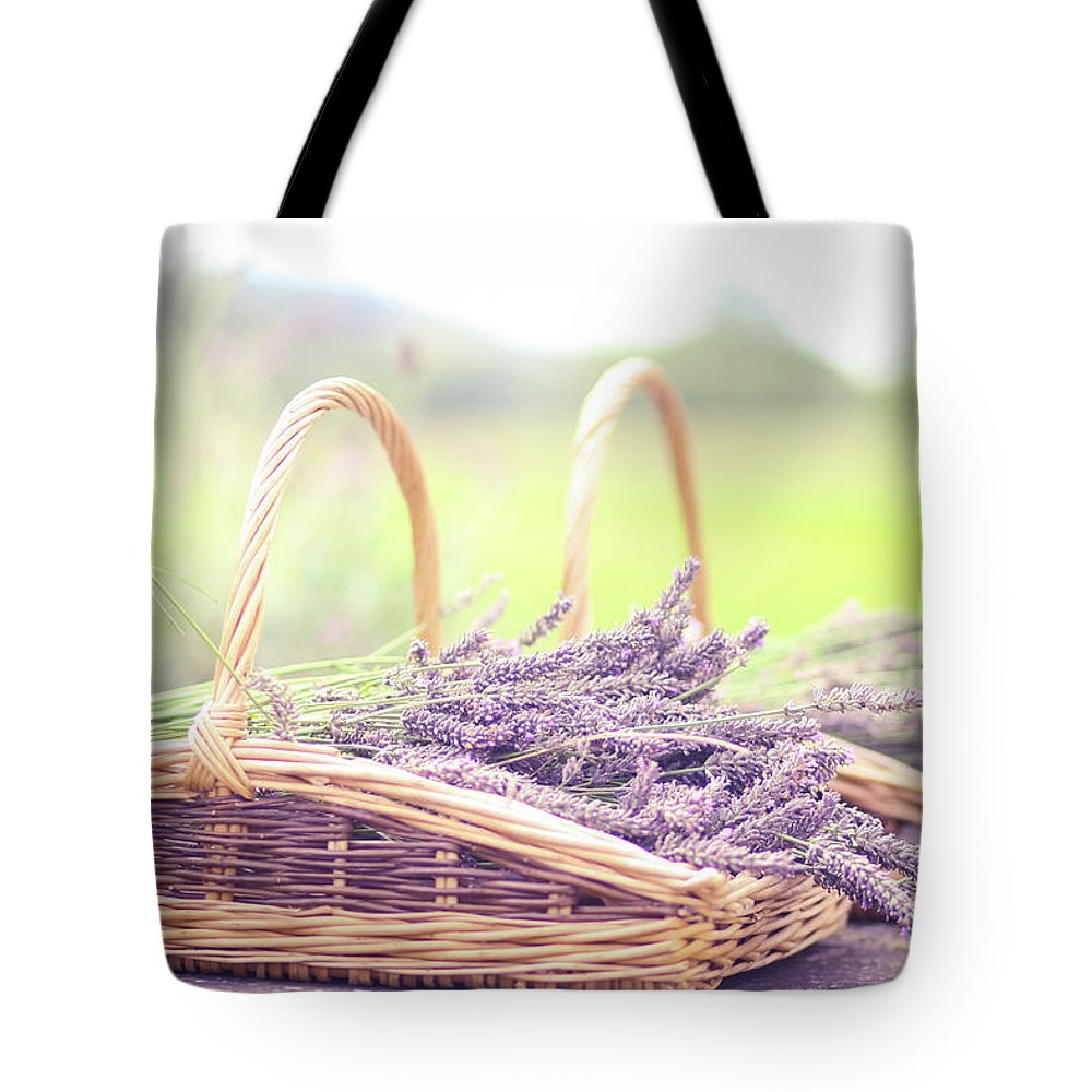 Dorset Tote Bag featuring the photograph Baskets Of Lavender by Sasha Bell