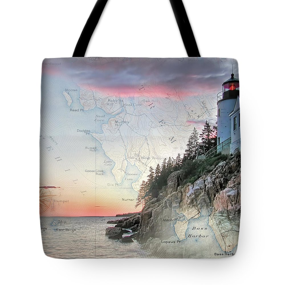 Lighthouses Of New England Tote Bag featuring the photograph Bass Harbor Lighthouse On A Chart by Jeff Folger