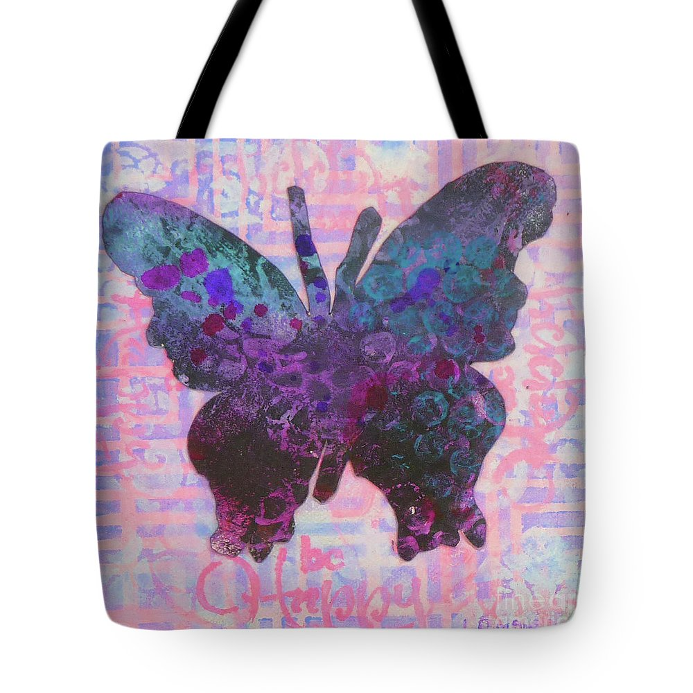 Butterfly Tote Bag featuring the mixed media Be Happy Butterfly by Lisa Crisman