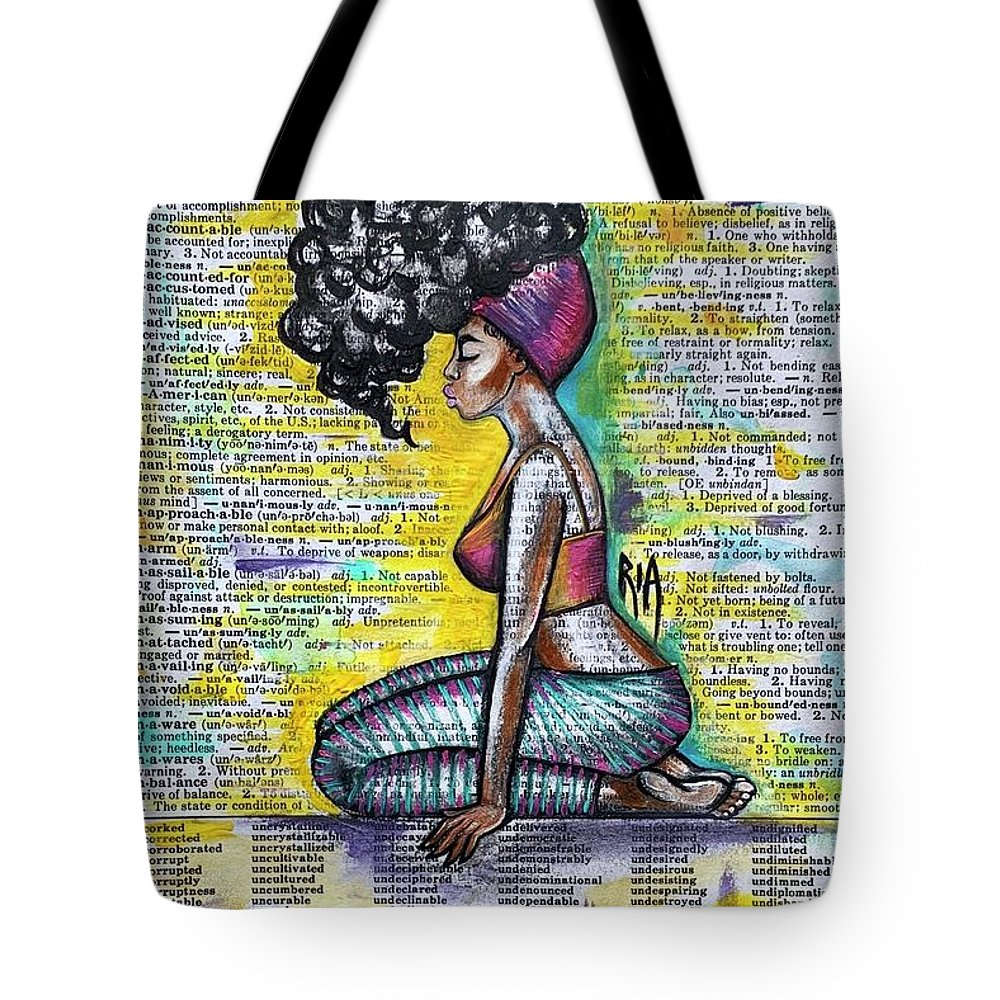 Words Tote Bag featuring the painting Be Strong-Don't let them break you by Artist RiA
