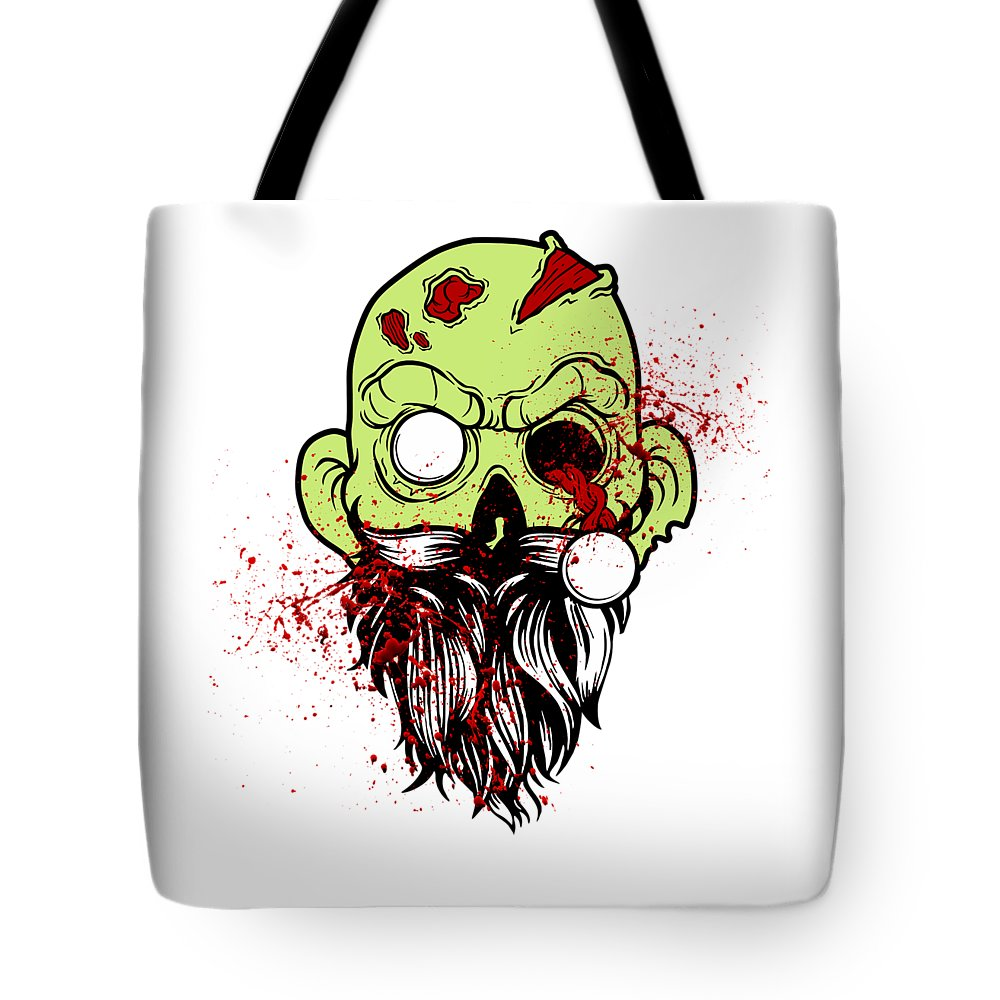 Halloween Tote Bag featuring the digital art Bearded Zombie Undead With Beard Halloween Party Light by Nikita Goel