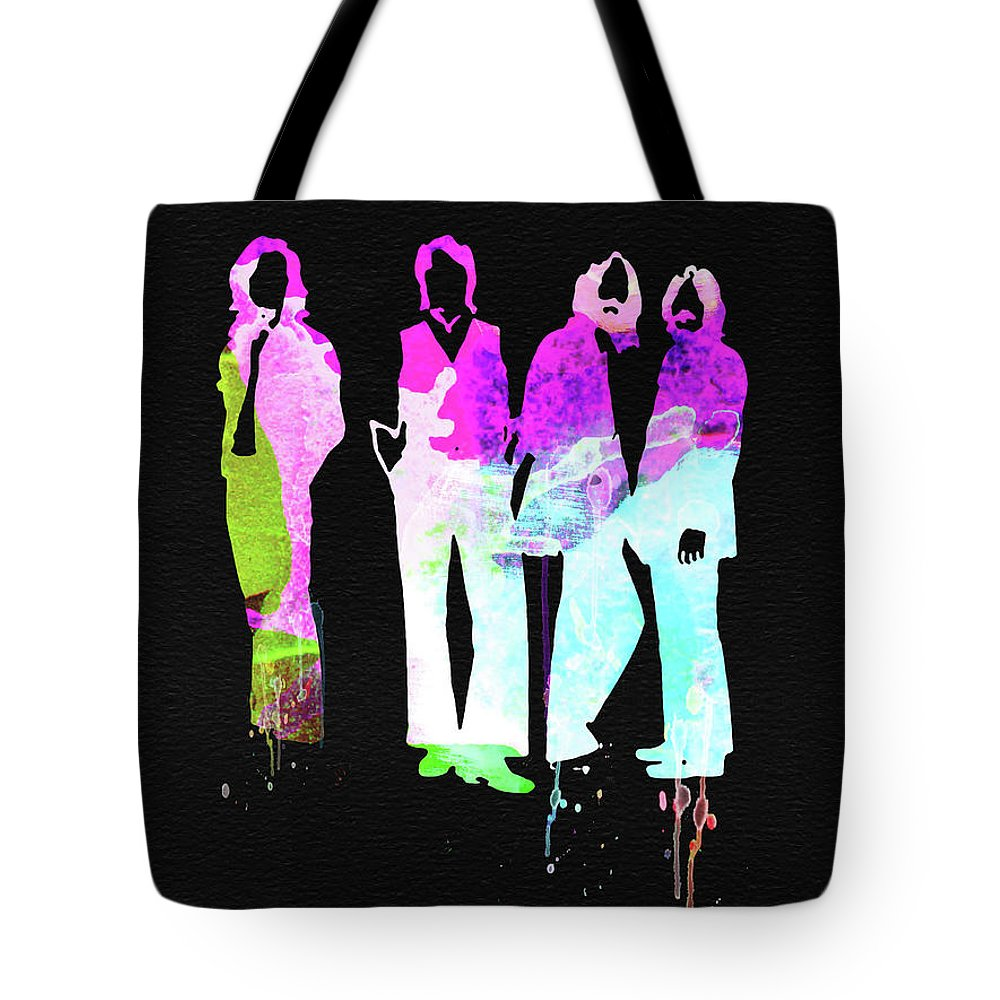Tote Bag featuring the mixed media Beatles Watercolor II by Naxart Studio