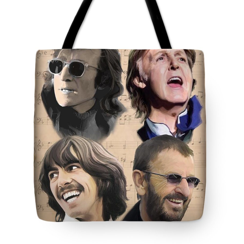 Beatles Tote Bag featuring the painting Beatles Yesterday by Paul Tag