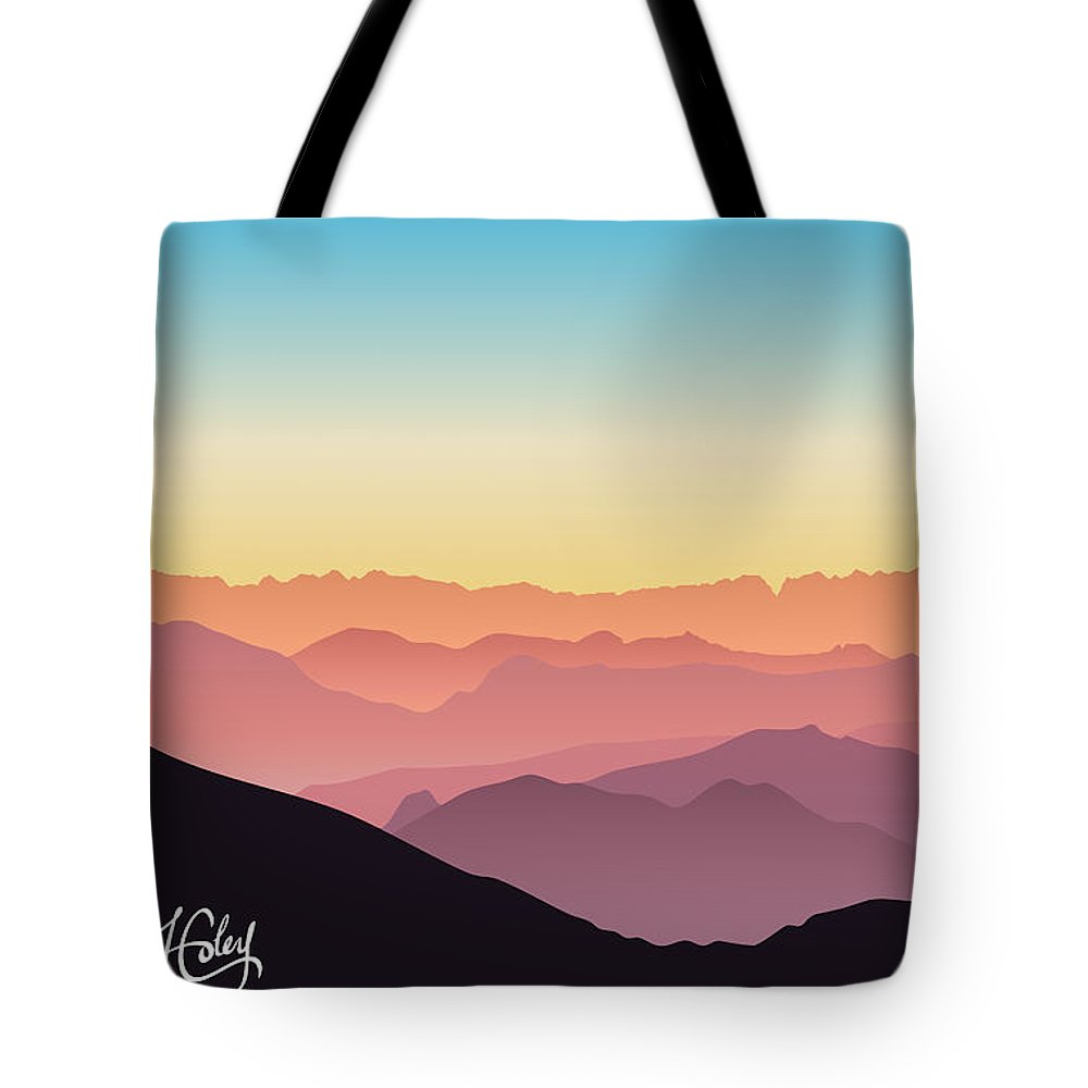 Silhouette Tote Bag featuring the digital art Beautiful And Colorful Mountains by Hannah Coley