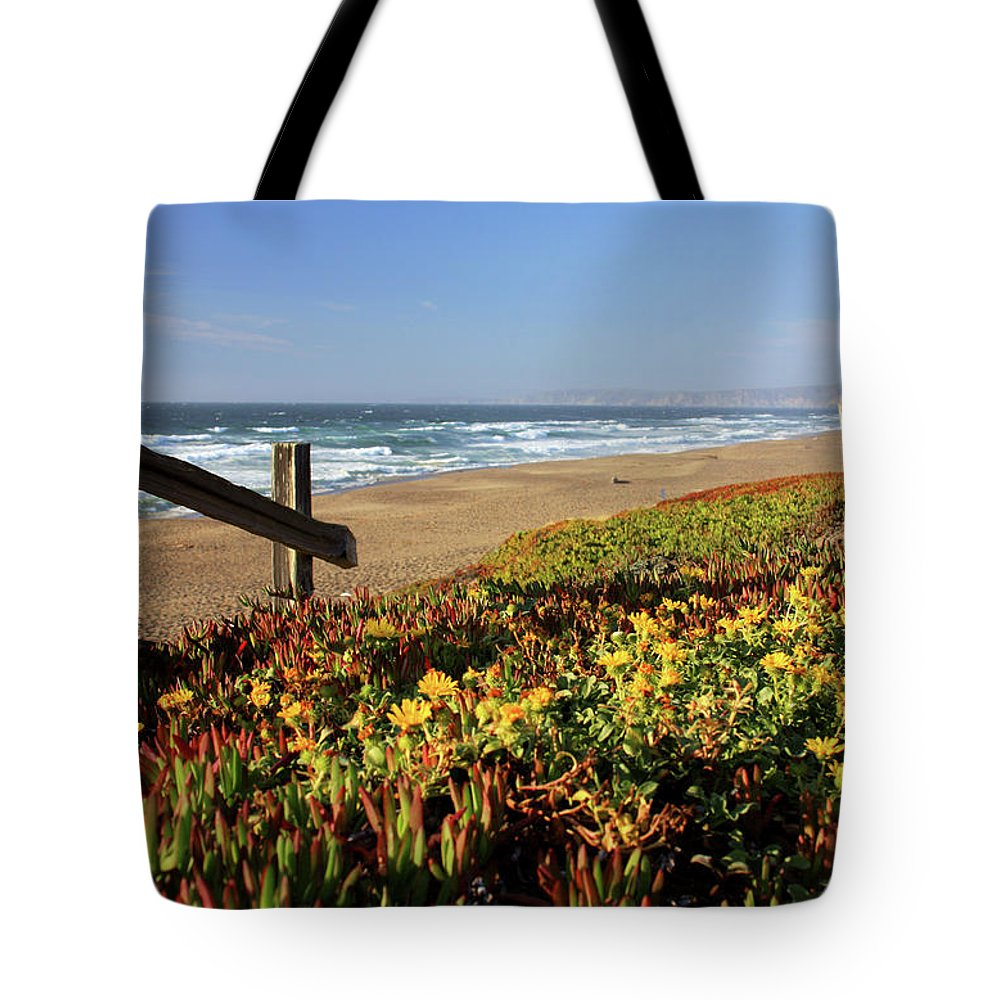 Water's Edge Tote Bag featuring the photograph Beautiful California Beach Scene And by Ejs9
