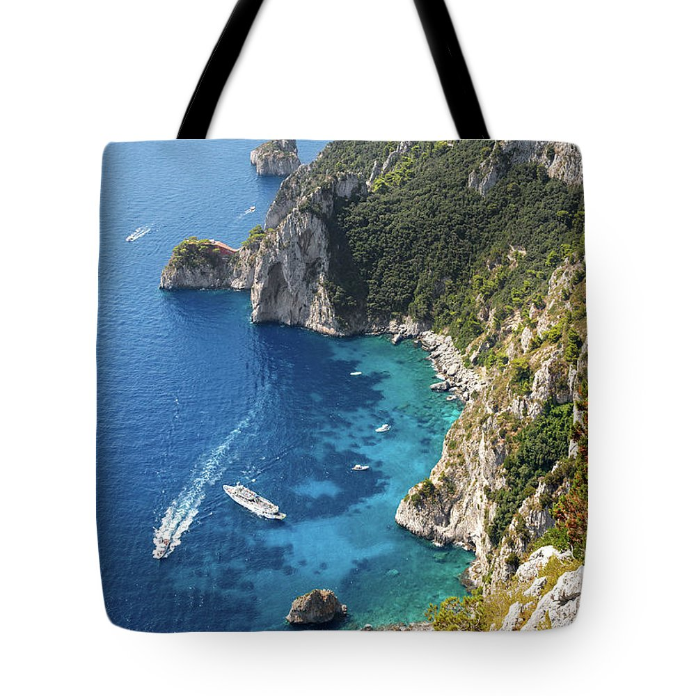 Scenics Tote Bag featuring the photograph Beautiful Capris Sea by Pierpaolo Paldino