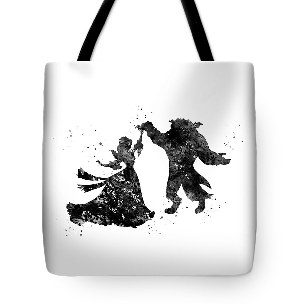 Beauty And The Beast Dancing Tote Bag featuring the digital art Beauty And The Beast Dancing by Erzebet S
