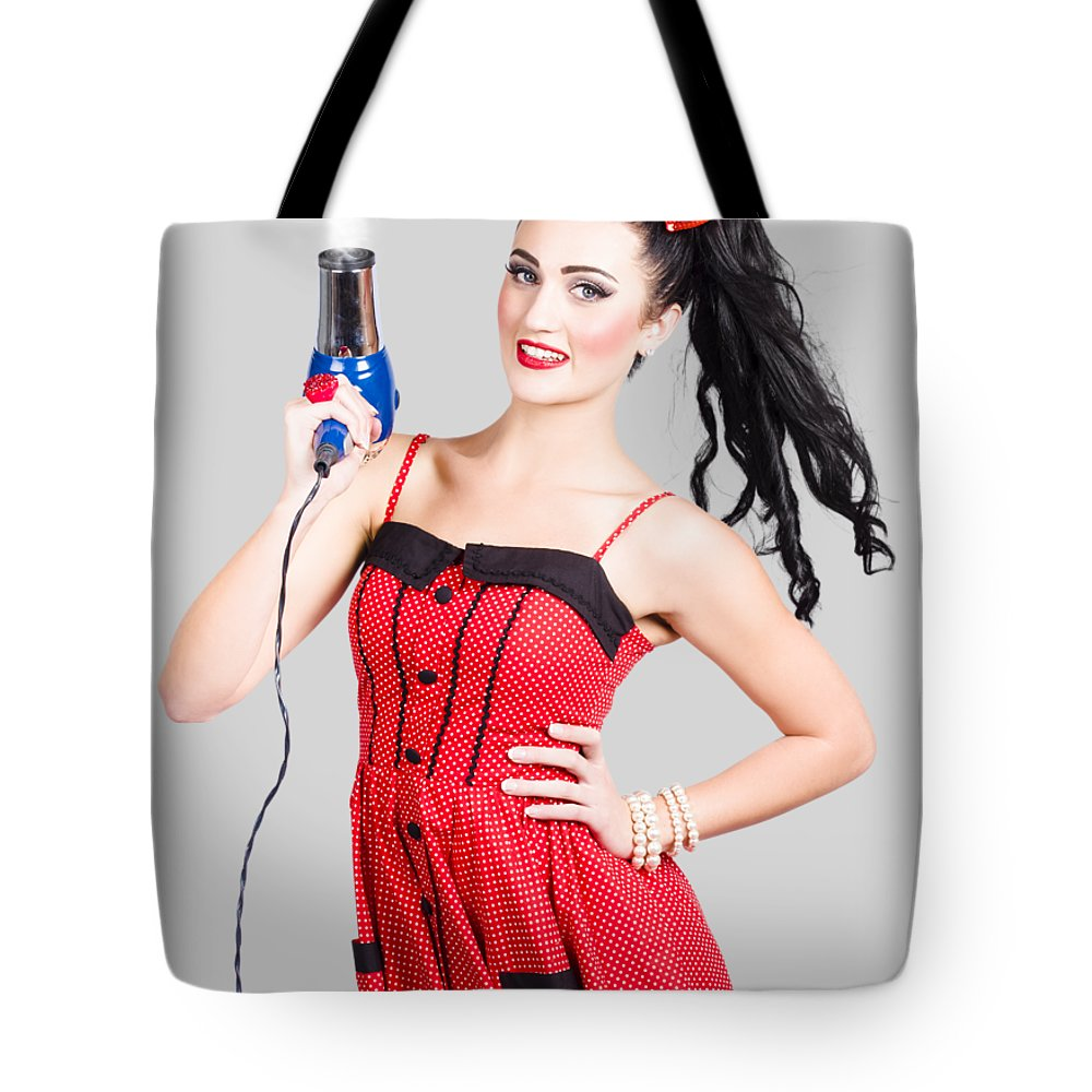 Salon Tote Bag featuring the photograph Beauty Style Portrait Of A Elegant Hairdryer Woman by Jorgo Photography - Wall Art Gallery