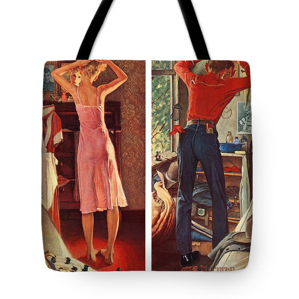 Cowboy Tote Bag featuring the drawing Before The Date by Norman Rockwell