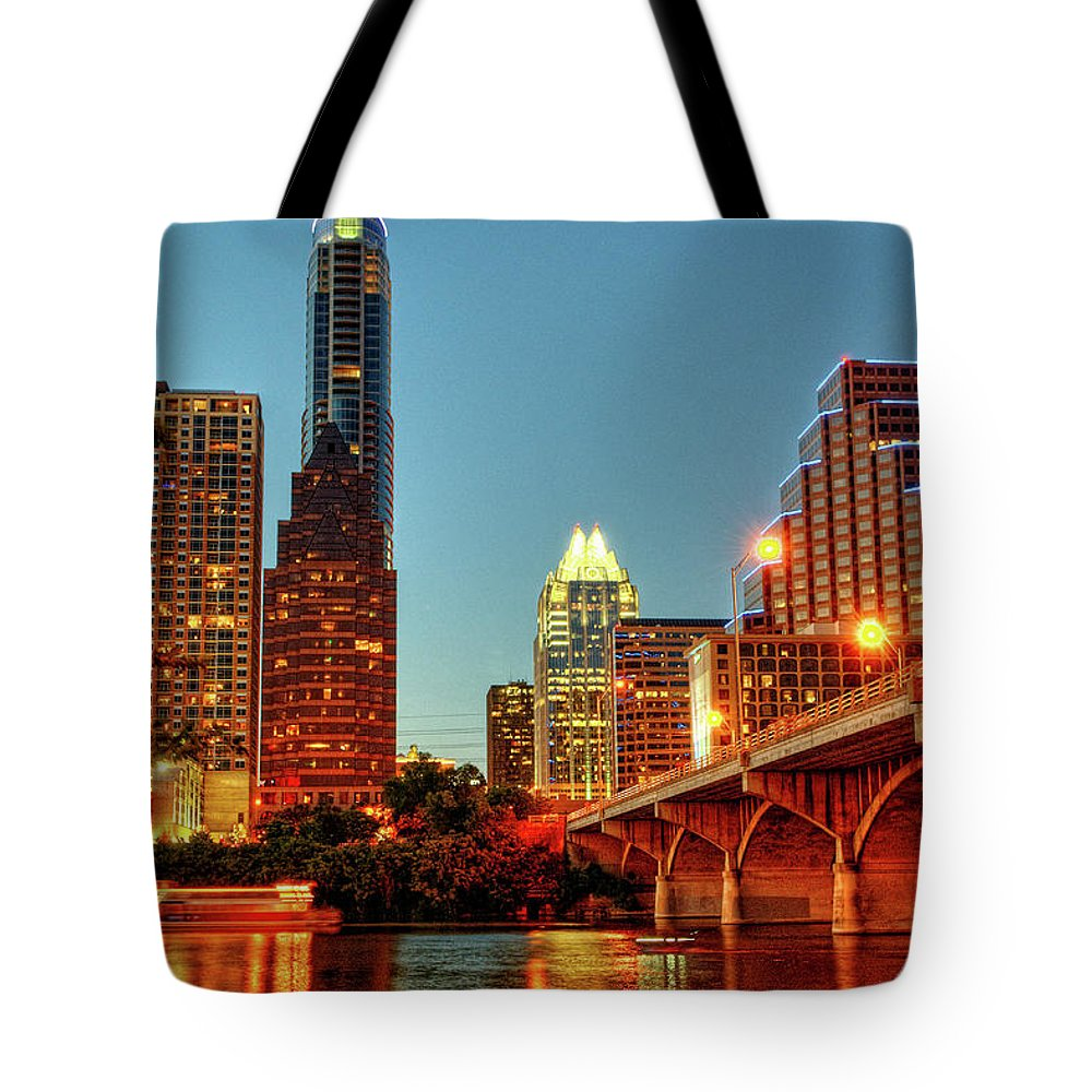 Arch Tote Bag featuring the photograph Below Congress Avenue Bridge by David Hensley
