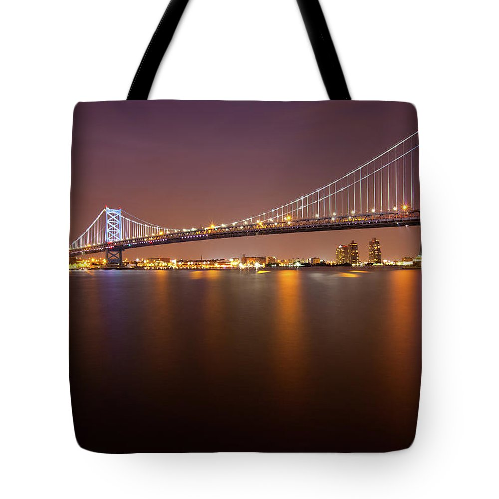 Built Structure Tote Bag featuring the photograph Ben Franklin Bridge by Richard Williams Photography