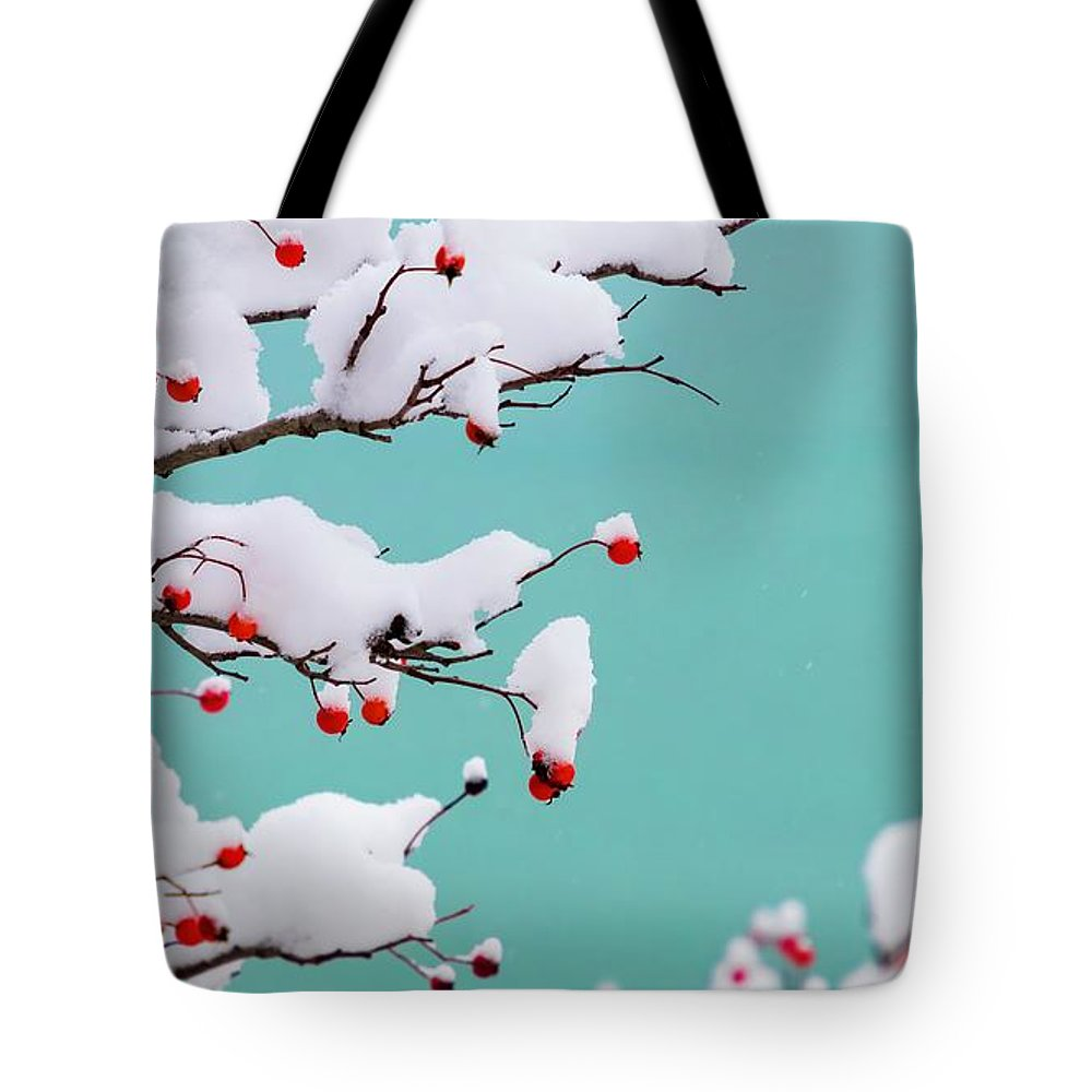 Turquoise Tote Bag featuring the photograph Berries And Cream by Terri Hart-Ellis
