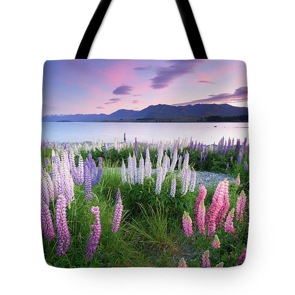Dawn Tote Bag featuring the photograph Berry Dawn At Lake Tekapo, New Zealand by Atomiczen