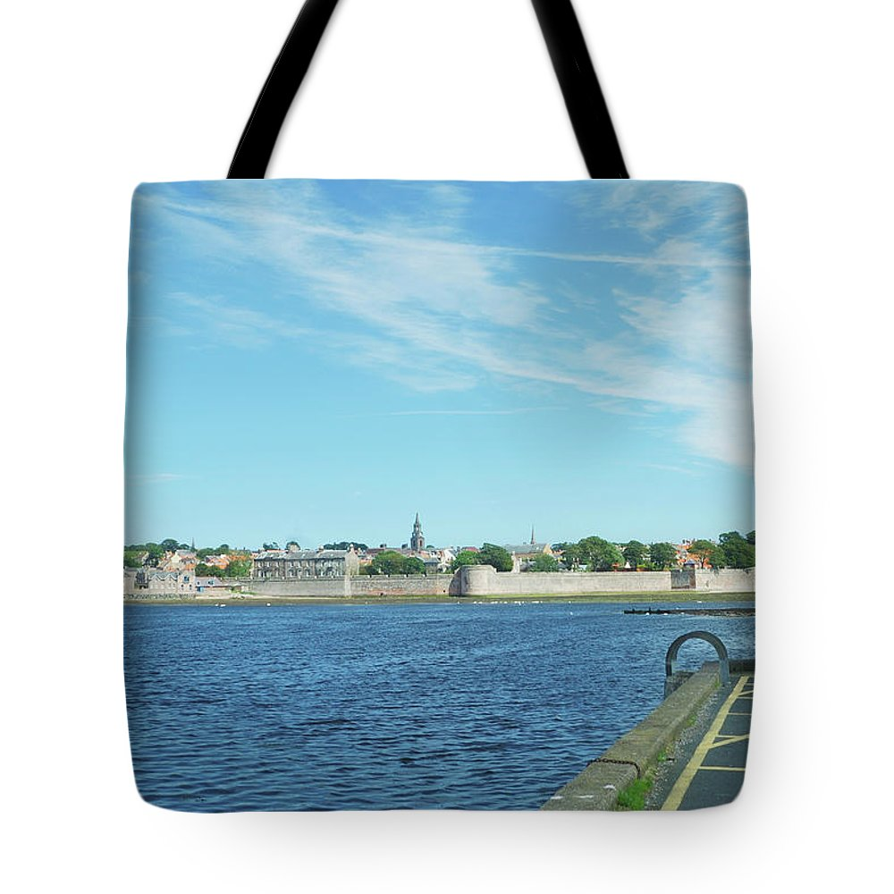 Berwick Upon Tweed Tote Bag featuring the photograph Berwick Upon Tweed, River And City Walls by Victor Lord Denovan