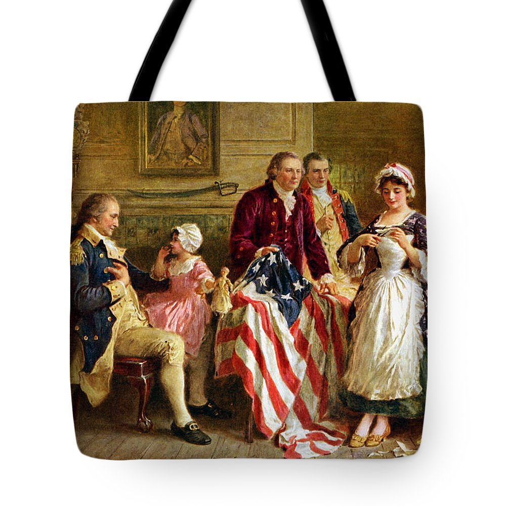 George Washington Tote Bag featuring the painting Betsy Ross and General George Washington by War Is Hell Store