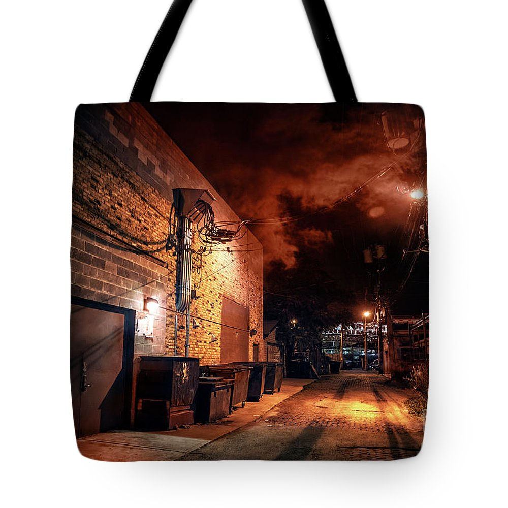 Alley Tote Bag featuring the photograph Between Midnight And Dawn by Bruno Passigatti