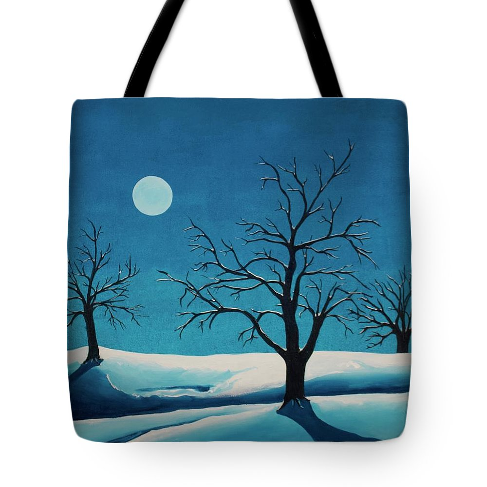 Blue Tote Bag featuring the painting Beyond This Moment by Rollin Kocsis