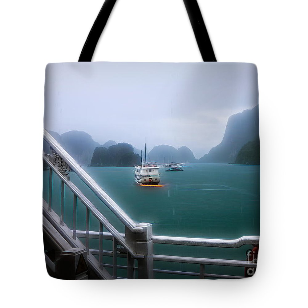 Vietnam Tote Bag featuring the photograph Bhaya Cruise Line Ha Long Bay by Chuck Kuhn