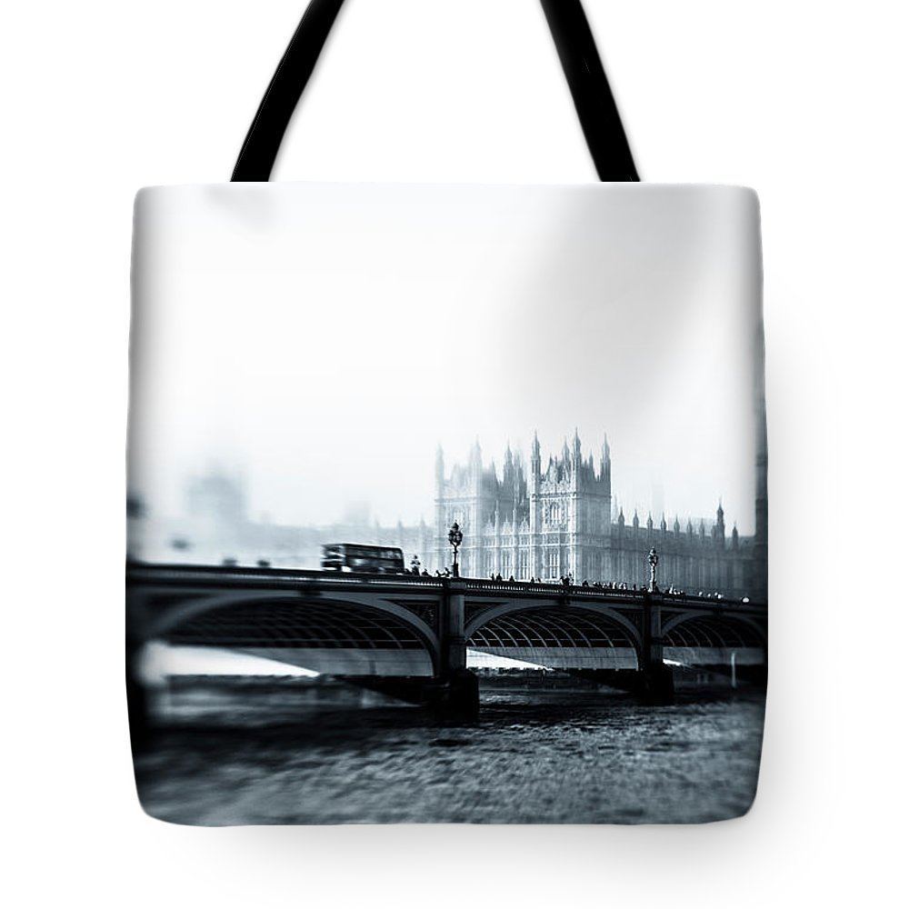 Clock Tower Tote Bag featuring the photograph Big Ben And Houses Of Parliament In The by Cirano83